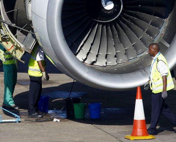 shows an aircraft engine after a bird strike